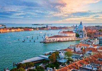 View of Venice lagoon and Santa Maria della Salute church. Venice, Italy